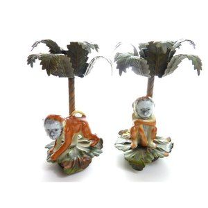 Vintage Monkey and Palm Tree Candle Holder Ceramic